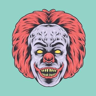 Straszna ilustracja twarzy klauna