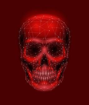 Straszna kość czaszki człowieka. człowiek głowa szczęki oczy nos ząb. low poly
