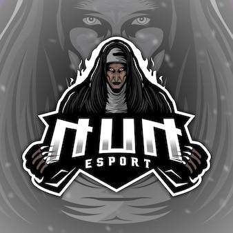 Straszna maskotka z logo nun do gier elektronicznych