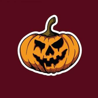 Straszna naklejka na dynie na halloween