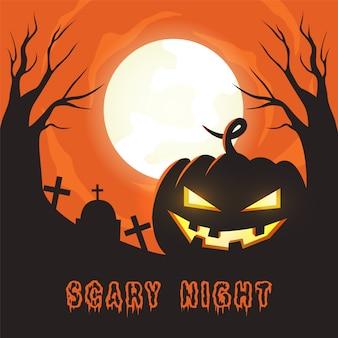 Straszna noc halloweenowa ilustracja dyni