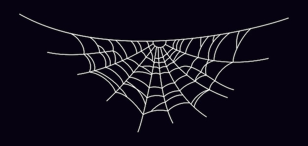 Straszna pajęczyna. sylwetka pajęczyna biała na białym tle na czarnym tle. ręcznie rysowane pajęczyna na halloween. ilustracja wektorowa