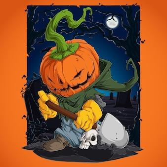 Straszna postać z dyni halloweenowej z poważną twarzą grzebiącą ludzką czaszkę swoją łopatą