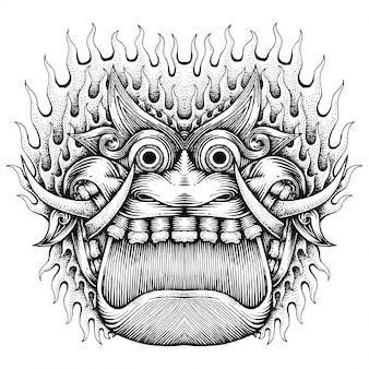 Straszna twarz potwora, streszczenie ręcznie rysowane ilustracji, jawajski styl
