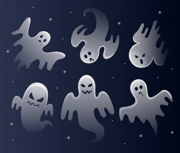 Straszne białe duchy. świętowanie halloween. upiorny potwór o przerażającym kształcie twarzy.