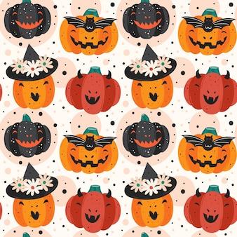 Straszne Dynie. Diabeł, Wiedźma, Wampir. Happy Halloween Wzór Premium Wektorów