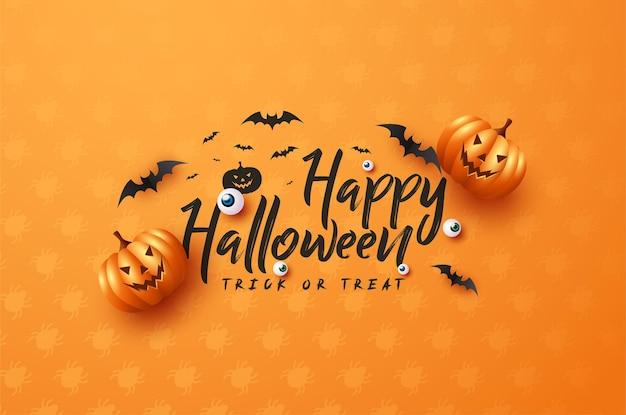 Straszne dynie halloween na białym tle nakrapiane na pomarańczowo