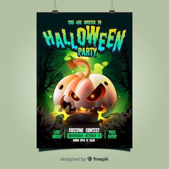 Straszne halloween party plakat szablon z realistycznym wystrojem