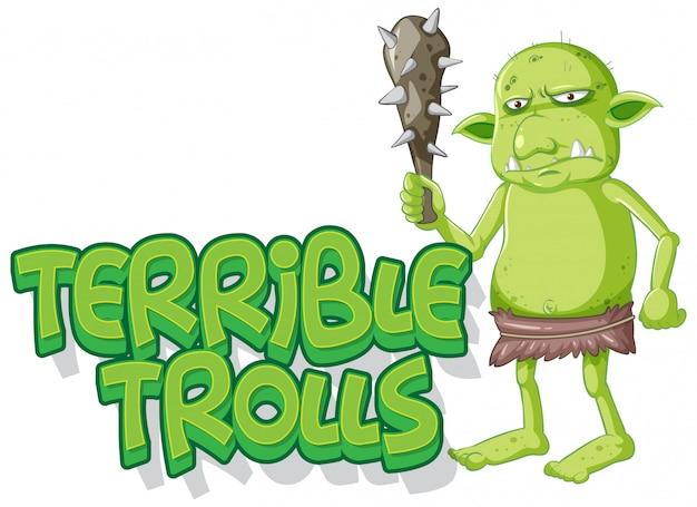 Straszne logo trolli na białym tle