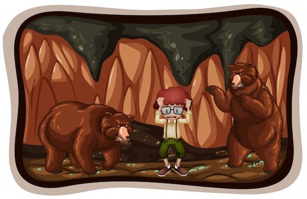 Straszne niedźwiedzie w jaskini