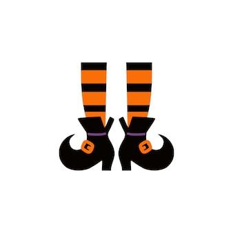 Straszne nogi wiedźmy halloweenowe pończochy na nogach wiedźmy i skarpetki w paski z miotłą