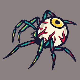 Straszne okropne oko pająka na halloweenowy projekt świąteczny. październikowy baner, plakat lub pocztówka