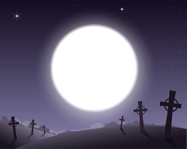 Straszne tło na cmentarz halloween z krzyżami i pełni księżyca na niebie
