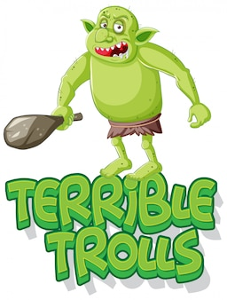 Straszne trolle logo na białym tle