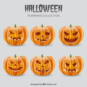 Straszne twarze halloween jackolantern