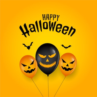 Straszny balon i nietoperze na happy halloween card