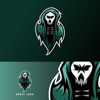 Straszny ciemny duch maskotka sport logo e-sport szablon