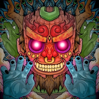 Straszny demon tiki głowa ilustracja