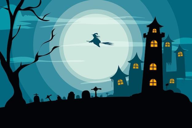 Straszny dom halloween tło