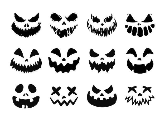 Straszny duch horror twarz sylwetka wektor do rzeźbienia na halloween dynia