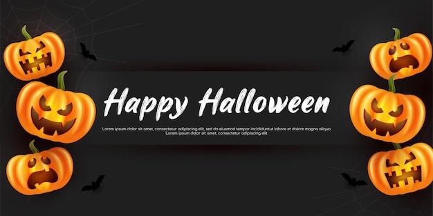 Straszny dyniowy baner halloweenowy w tle