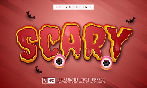 Straszny efekt edytowalnego stylu tekstu odpowiedni dla motywu baneru halloween