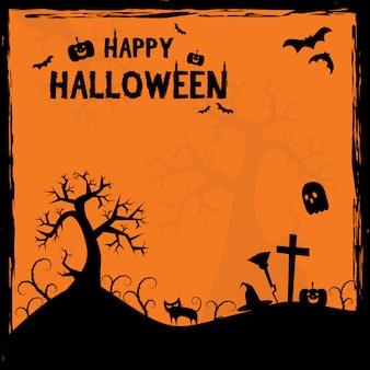 Straszny halloween sylwetka tło ramki plakat kreskówka