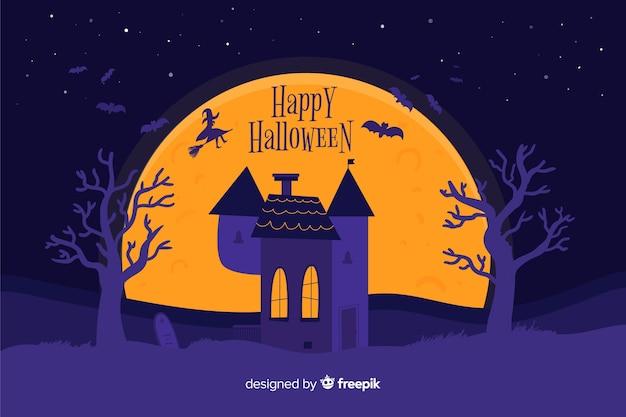 Straszny halloween tło na płaskim projekcie
