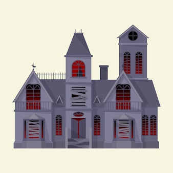 Straszny, nawiedzony dom. ręcznie rysowane wektor ilustracja na białym tle.