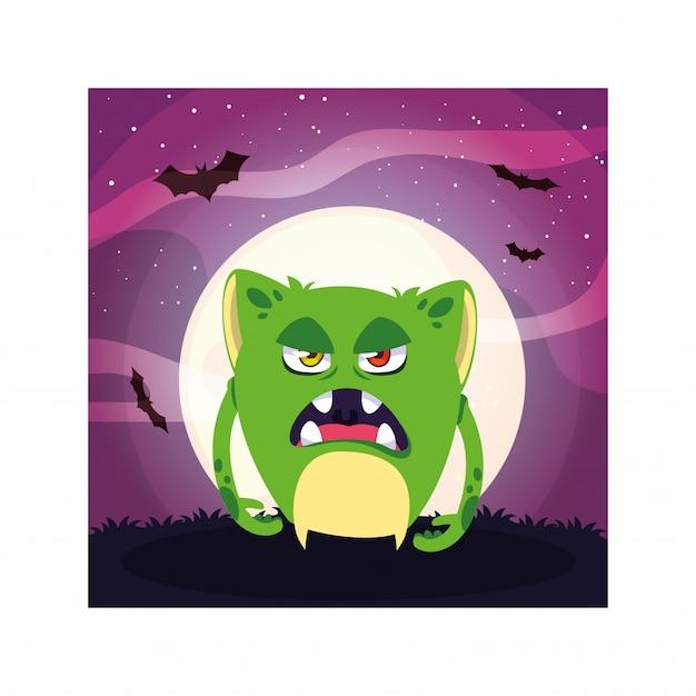 Straszny potwór w noc halloween, zły potwór