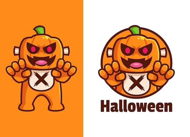 Straszny projekt logo postaci z kreskówki halloween dynia