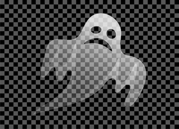 Straszny przezroczysty biały duch na białym tle ikona upiorny symbol na halloween wakacje wektor znak