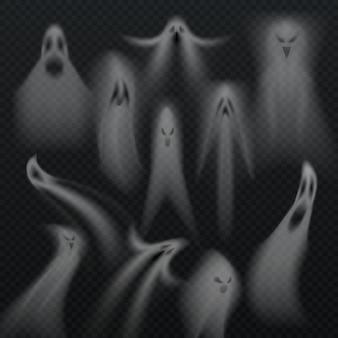 Straszny przezroczysty halloween duch na białym tle wektor zestaw. horro złe dusze demonów