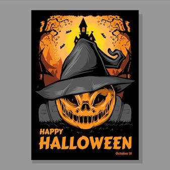 Straszny szablon plakatu wydarzenia halloween