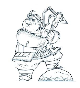 Straszny wiking machający wielkim toporem na polu bitwy