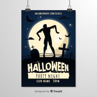 Straszny zombie sylwetka halloween szablon ulotki