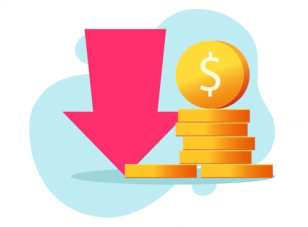 Strata pieniędzy przychody i koszty finansowe lub recesja gospodarcza spadają gotówki kryzys