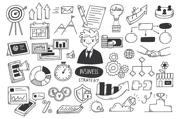 Strategia biznesowa doodle zestaw ilustracji wektorowych