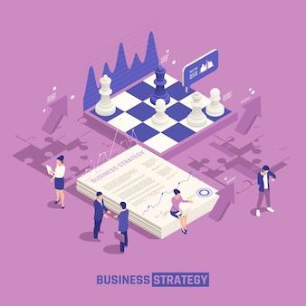 Strategia biznesowa izometryczna z szachownicą z elementami układanki, a ludzie dyskutują o kreatywnych pomysłach