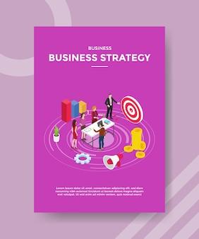 Strategia biznesowa ludzie praca zespołowa współpraca spotkanie wyznaczają cel