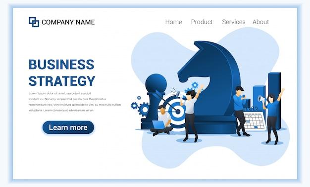 Strategia biznesowa z postaciami. metafora biznesu, przywództwo, zarządzanie biznesem, osiągnięcie celu. płaska ilustracja. płaska ilustracja