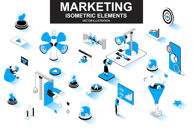 Strategia marketingowa 3d izometryczne elementy linii