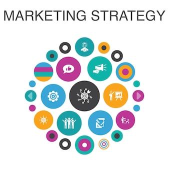 Strategia marketingowa koncepcja koło plansza. planowanie inteligentnych elementów interfejsu użytkownika, kierownik marketingu, prezentacja, planowanie