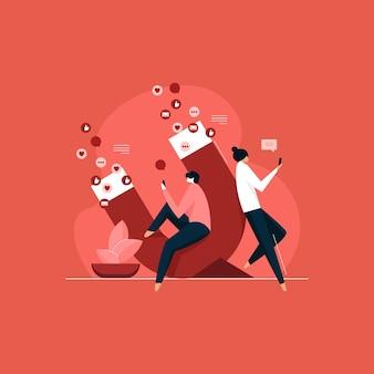 Strategia marketingowa przyciągająca klientów, ilustracja odbiorców w mediach społecznościowych