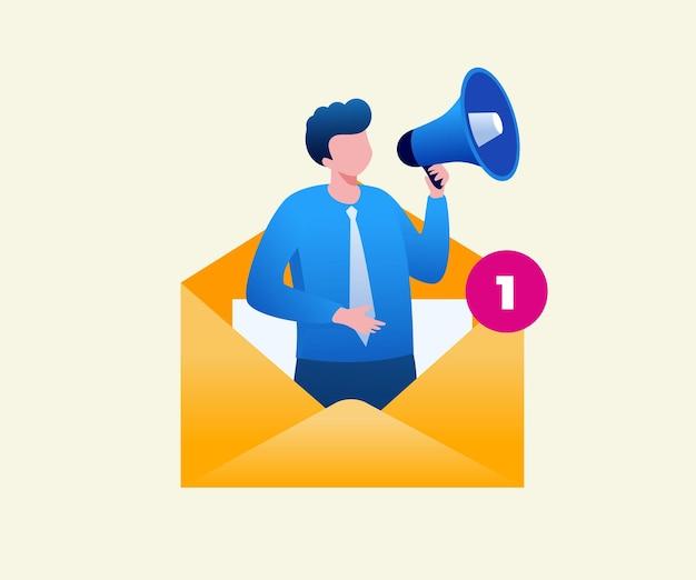 Strategia marketingu e-mailowego dla biznesowego płaskiego banera ilustracji wektorowych i strony docelowej