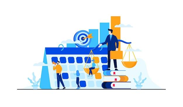 Strategia zarządzania biznesem z postaciami mini ludzi.