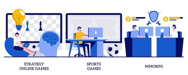 Strategiczne gry online, gry sportowe, koncepcja mmorpg z malutkimi ludźmi. zestaw ilustracji wektorowych strumieniowe przesyłanie strumieniowe graczy internetowych i wideo. turniej cybersport, nowoczesna rozrywka i metafora rozrywki.