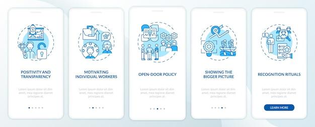 Strategie motywacji pracowników wprowadzające ekrany aplikacji mobilnych z koncepcjami. zachęcaj pracowników do przechodzenia przez 5 kroków instrukcji graficznych. szablon ui z kolorowymi ilustracjami rgb