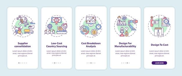 Strategie redukcji kosztów wprowadzające ekrany aplikacji mobilnej z koncepcjami. konsolidacja dostawców 5 kroków instrukcji graficznych. szablon ui z kolorowymi ilustracjami rgb