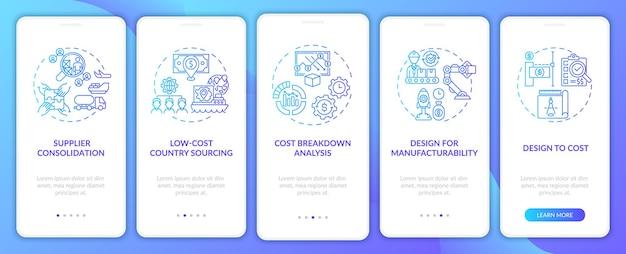 Strategie redukcji kosztów wprowadzające ekrany aplikacji mobilnych z koncepcjami. kroki przejścia konsolidacji dostawców. szablon ui z kolorem rgb
